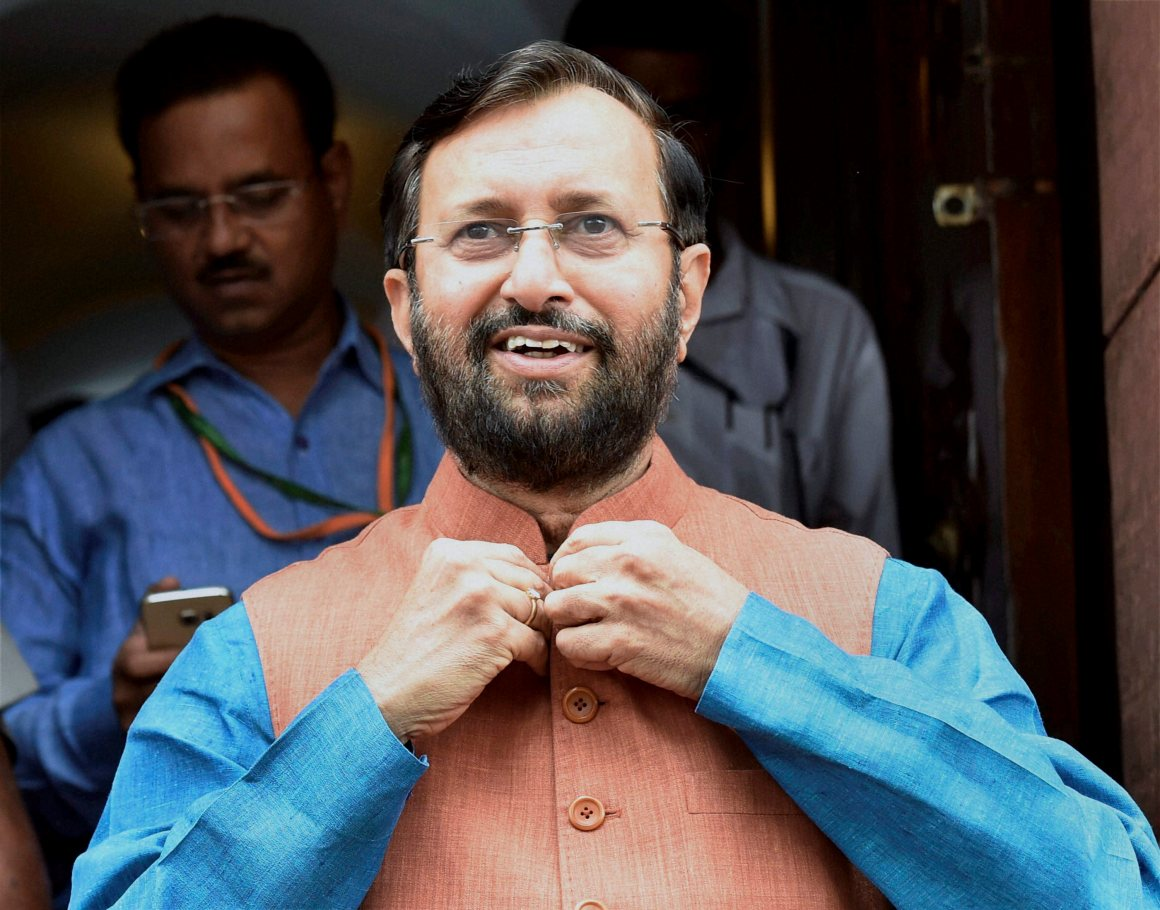 Prakash Javadekar at Parliament house during the monsoon session in New Delhi. Credit: PTI