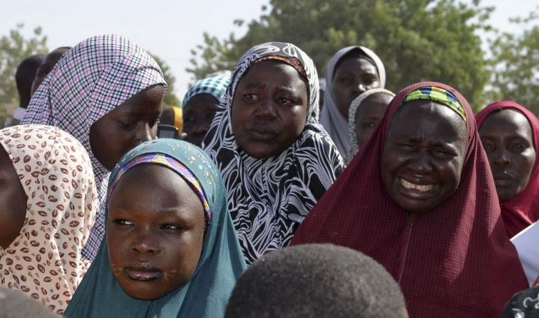 Mothers of kidnapped school girls during a meeting with the Borno state governor on April 22. Credit: Reuters