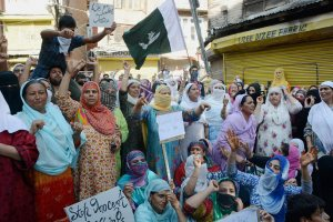 Women take part in a sit-in protest against the killing of civilians in Srinagar on Thursday. Credit: PTI