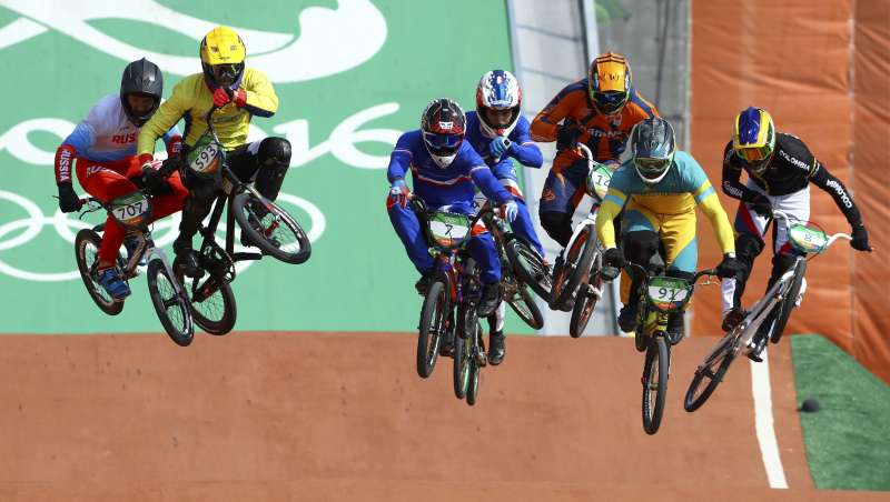 The men's BMX cycling quarter finals at the Rio Olympis. Credit: Reuters/Paul Hanna