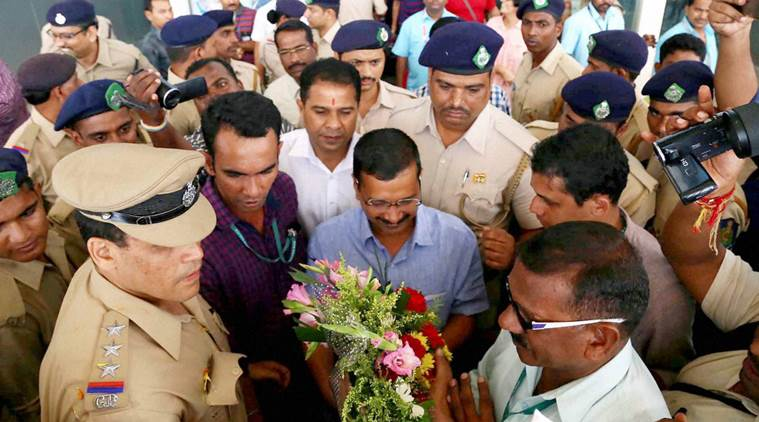 Delhi Chief Minister Arvind Kejriwal during his arrival at Vasco to Dabolim airport in Goa. Credit: PTI Photo