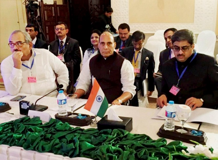 Islamabad: Home Minister Rajnath Singh along with the Indian delegation attending the first working session of SAARC Home Ministers' Conference 2016 in Islamabad on Thursday. Credit: PTI Photo