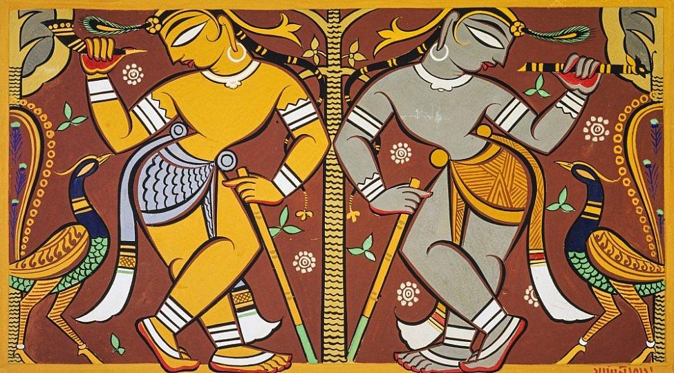 'Krishna and Balarama' by Jamini Roy, 1930s.Credit: Pratyay Nath/ nationalgalleries.org