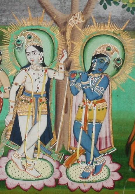 Balarama (L) and Krishna. Detail, Rajasthan, mid-19th century.Courtesy: Pratyay Nath/pinterest