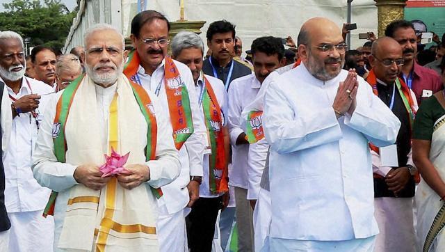 File photo of Prime Minister Narendra Modi, BJP president Amit Shah and IB minister Venkaiah Naidu. Credit: PTI