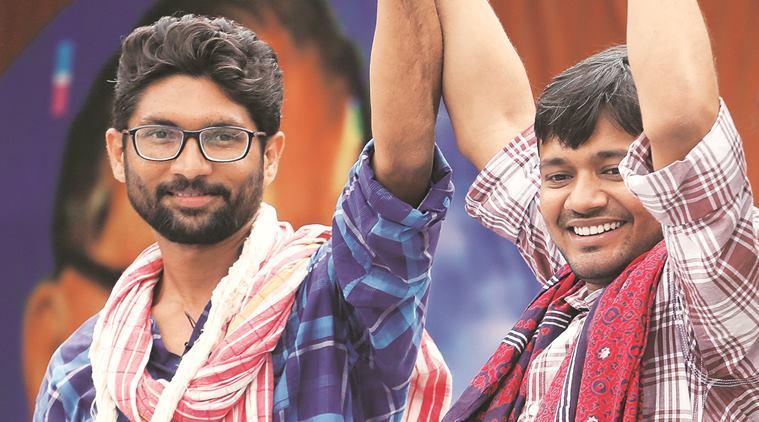 Jignesh Mevani and Kanhaiya Kumar at a rally in Una. Credit: PTI