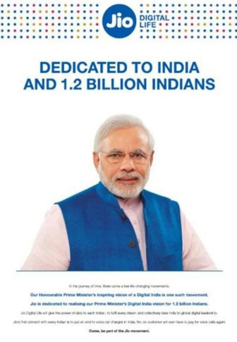 The Modi-Reliance Jio advertisement in newspapers.