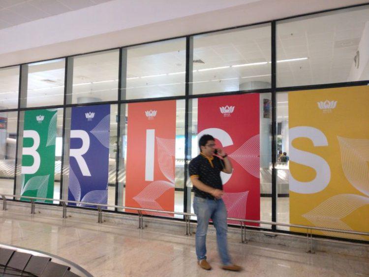 BRICS logo emblazoned at Goa's Dabolim airport. Credit: Devirupa Mitra