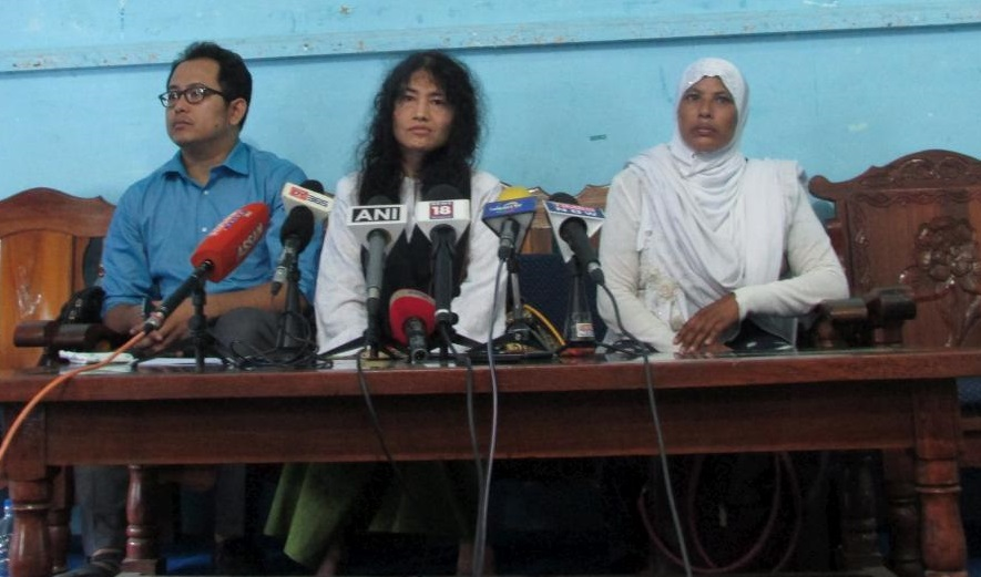 File photo of Irom Sharmila announcing her new political party Peoples Resurgence Justice Alliance (PRJA) at Manipur Press Club today. Credit: Special Arrangement