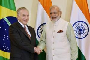 Prime Minister Narendra Modi with Brazilian President Michel Temer in Goa. Credit: PTI