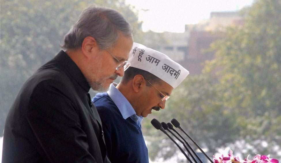 Lt. Governor of Delhi Najeeb Jung and Chief Minister Arvind Kejriwal. Credit: PTI