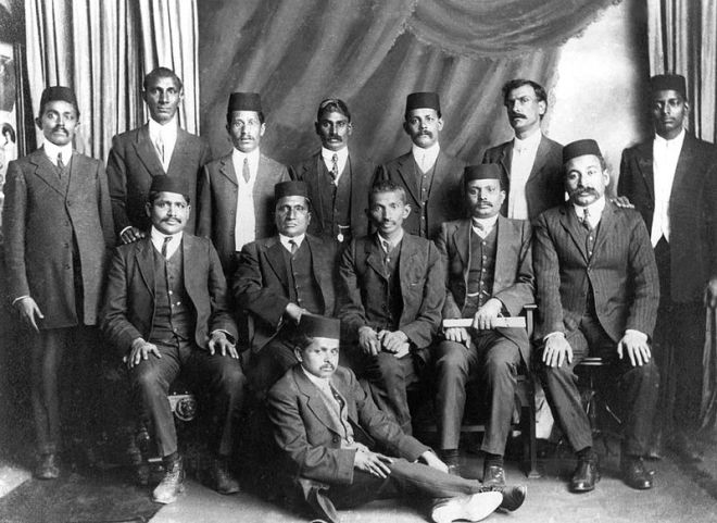 Gandhi with the leaders of the non-violent resistance movement in South Africa. Credit: Wikimedia Commons