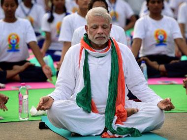 Prime Minister Narendra Modi doing yoga. Credit: PTI