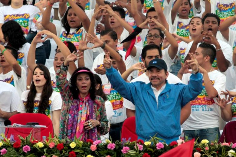Nicaragua's President Daniel Ortega and first lady and running mate Rosario Murillo. Credit: Reuters