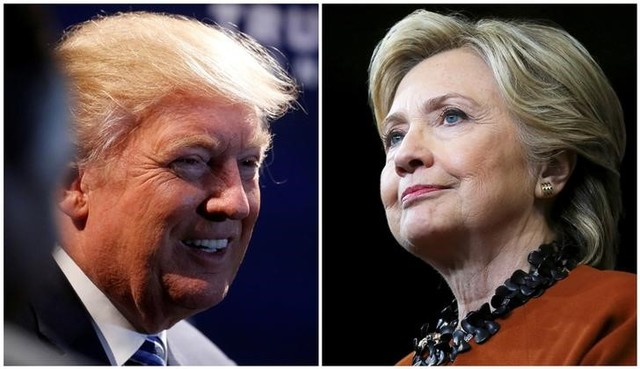 A combination photo shows US Republican presidential nominee Donald Trump (L) at a campaign event in Charlotte, North Carolina, US on October 26, 2016 and US Democratic presidential candidate Hillary Clinton during a campaign rally in Winston-Salem, North Carolina, US on October 27, 2016. Credit: Reuters/Carlo Allegri (L)/Carlos Barria (R)/File Photos