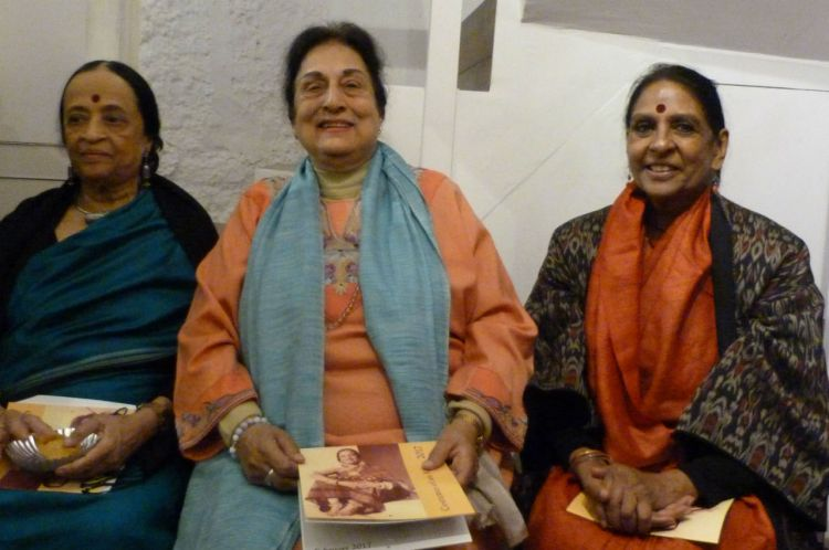 Anjolie Ela Menon (left), Jalabala Ramachandran (centre) and Jaya Jaitley at the launch of the calendar. Credit: CWDS