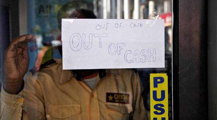 A 'no cash' sign outside an ATM. Credit: Reuters