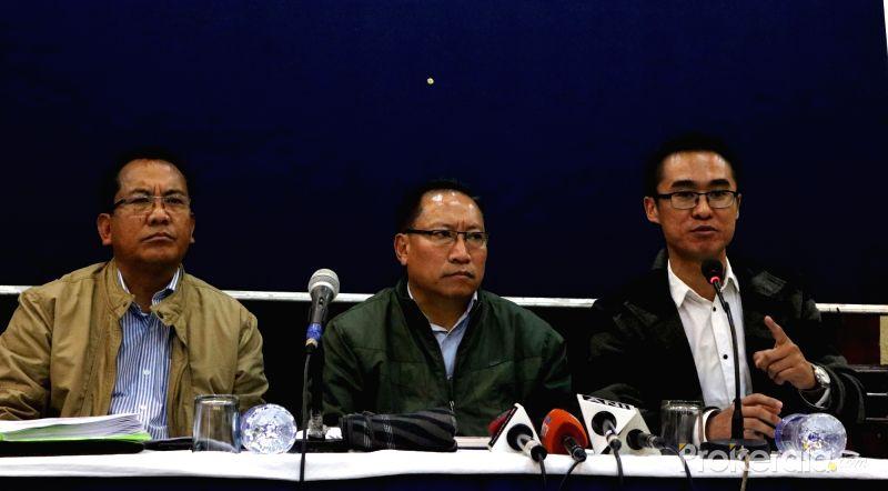 Members of the United Naga Council at a press conference in New Delhi. Credit: Special arrangement