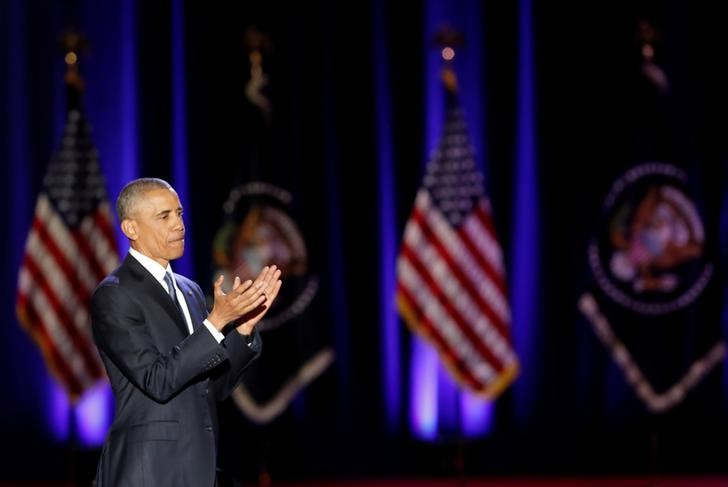 US President Barack Obama claps after giving a farewell address at McCormick Place in Chicago, Illinois, January 10, 2017. Credit: Reuters