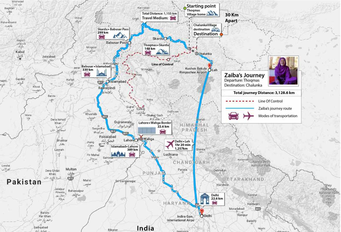 A map of Zaiba's journey from Thoqmus to Chalunka. Credit: Herald