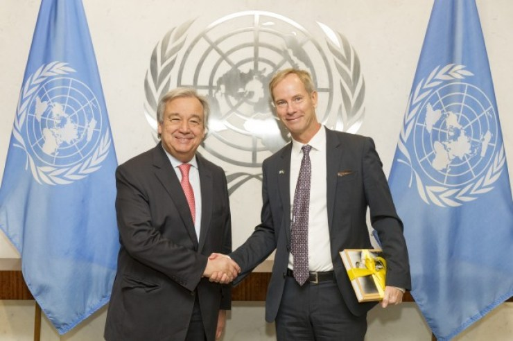 UN Secretary-General Anto—nio Guterres with Olof Skoog of Sweden, President of the UN Security Council for the month of January Credit: UN Photo/Rick Bajornas.