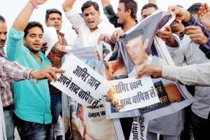 File photo of a right-wing protest in Jaipur against Aamir Khan's comments on 'rising intolerance' in India. Credit: PTI