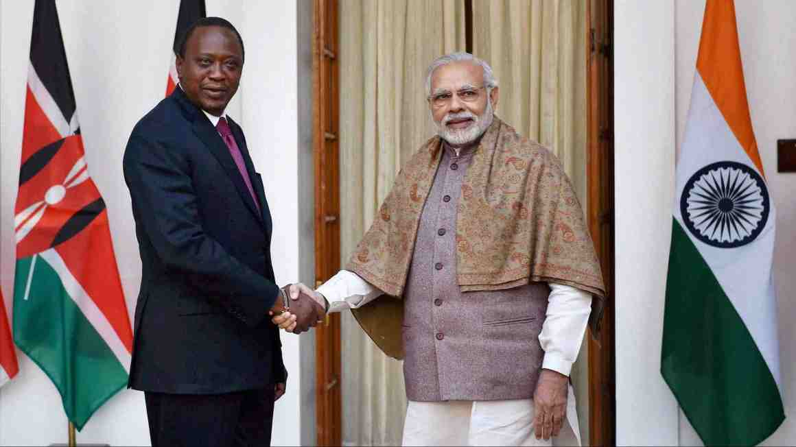 Prime Minister Narendra Modi shakes hands with President of the Republic of Kenya Uhuru Kenyatta before a meeting at Hyderabad house in New Delhi on Wednesday. Credit: PTI