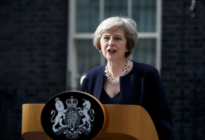 Britain's Prime Minister, Theresa May, speaks to the media outside number 10 Downing Street, in central London, Britain July 13, 2016. Credit: Reuters/Peter Nicholls