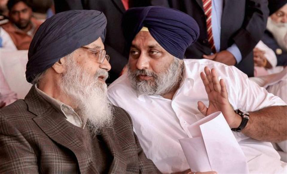 Punjab chief minister Parkash Singh Badal and deputy chief minister Sukhbir Singh Badal. Credit: PTI