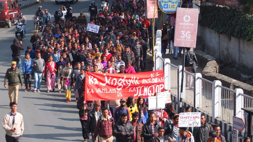 The rally in Shillong called by women's activists on January 11. Credit: Special arrangement