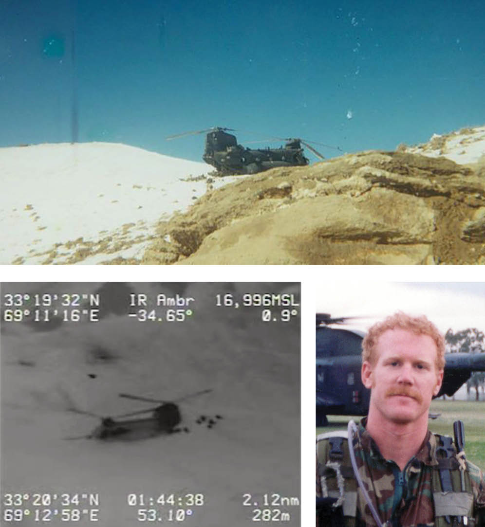 Top: Photo of helicopter on Takur Ghar. Bottom left: Screengrab from drone feed during the battle of Roberts Ridge. Bottom right: Candid photo of US Navy SEAL Neil Roberts. Credit: via The Intercept, US Department of Defense; Screengrab from video by US Department of Defense; US Navy by the Roberts family