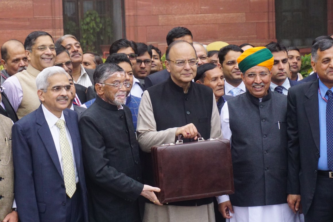 Finance minister Arun Jaitley ahead of the presentation of the Union Budget. Credit: Shome Basu/The Wire