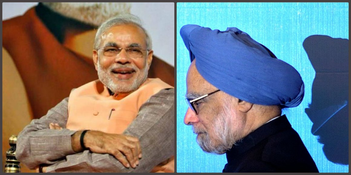 Narendra Modi and Manmohan Singh. Credit: Reuters