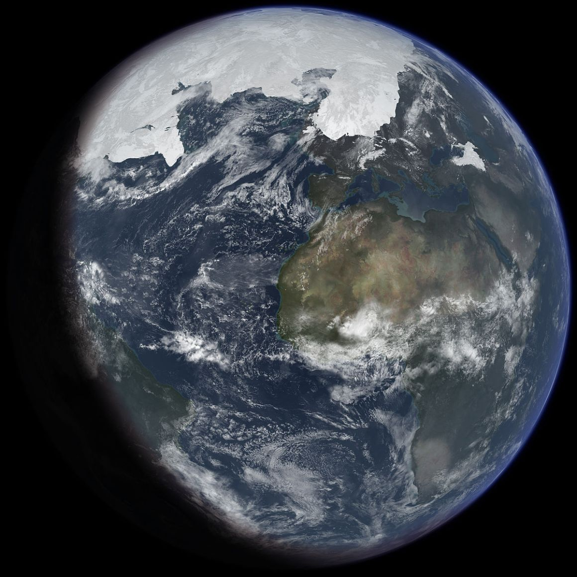 An artist's impression of ice age Earth at glacial maximum. Credit: Wikimedia Commons