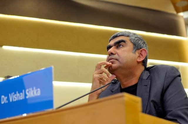 FILE PHOTO: Infosys Chief Executive Vishal Sikka listens to reporters' questions during the announcement of the company's quarterly results at its headquarters in Bengaluru, India, October 14, 2016. REUTERS/Abhishek N. Chinnappa/File photo