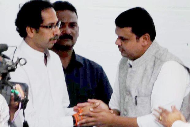 File picture of Sena Sena chief Uddhav Thackeray and Maharashtra chief minister Devendra Fadnavis. Credit: PTI