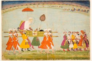 A painting of Emperor Aurangzeb being carried on a palanquin. Credit: Wikimedia Commons