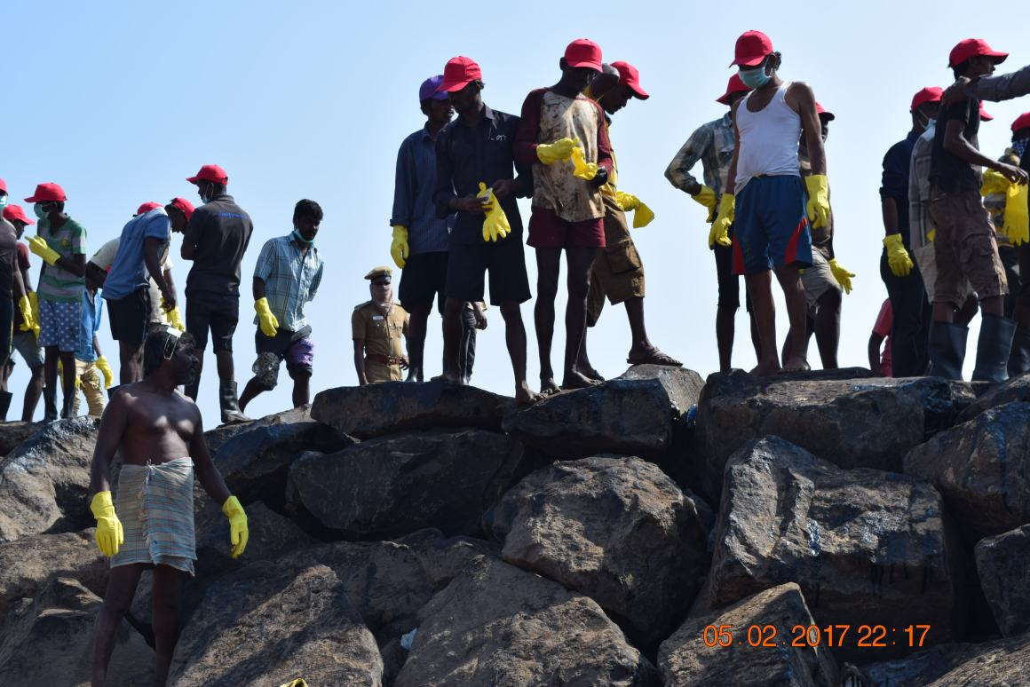 People who helped clean up the oil slick off Ennore. Credit: Archanaa Seker and Dharmesh Shah