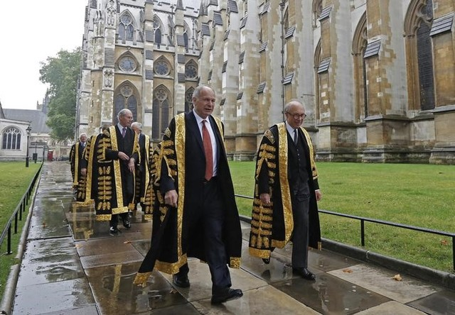 President of the Supreme Court, David Neuberger (C), walks with fellow judges to Westminster Abbey for a service to mark the start of the legal year, London October 1, 2012. Credit: Reuters