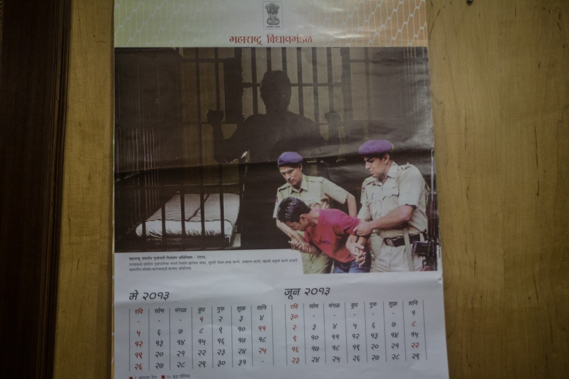 Irony does not escape the government. This was the calendar in the room where the Kabir Kala Manch and their Defence Committee had their meeting with the Home Ministry. Credit: Javed Iqbal