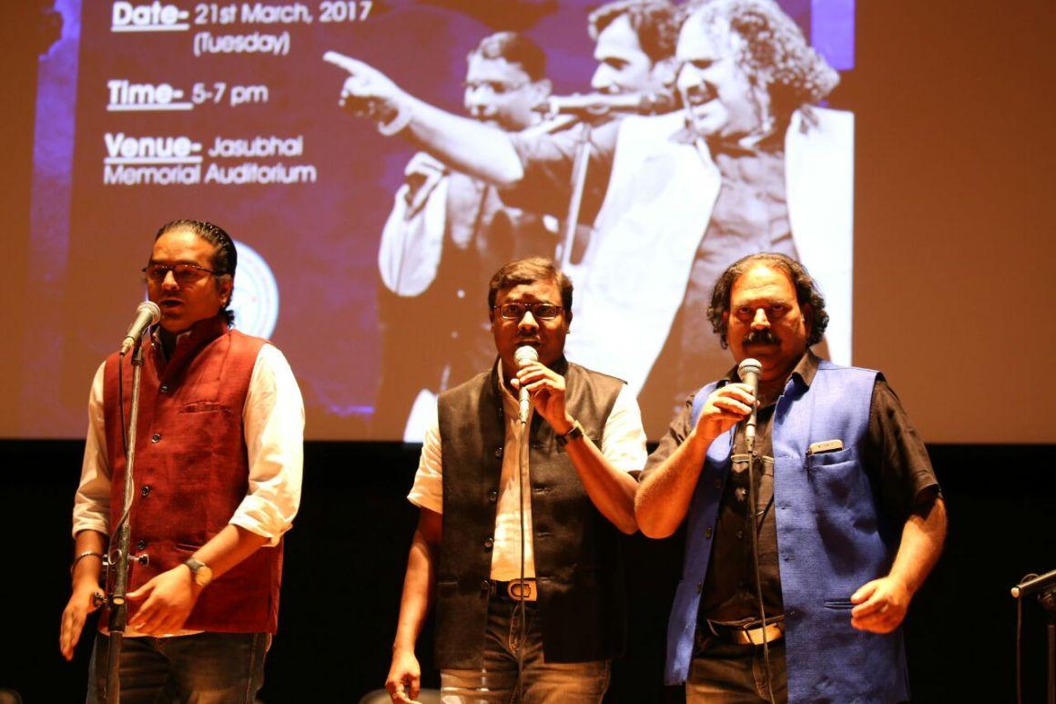 Bhagat and his troupe at IIT Gandhinagar. Credit: Damayantee Dhar