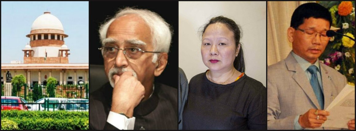 In her application to Hamid Ansari, Dangwimsai Pul requested the vice president to consult the senior-most judges of the Supreme Court. Credit: (L-R) PTI, PTI, Hina Fathima, PTI