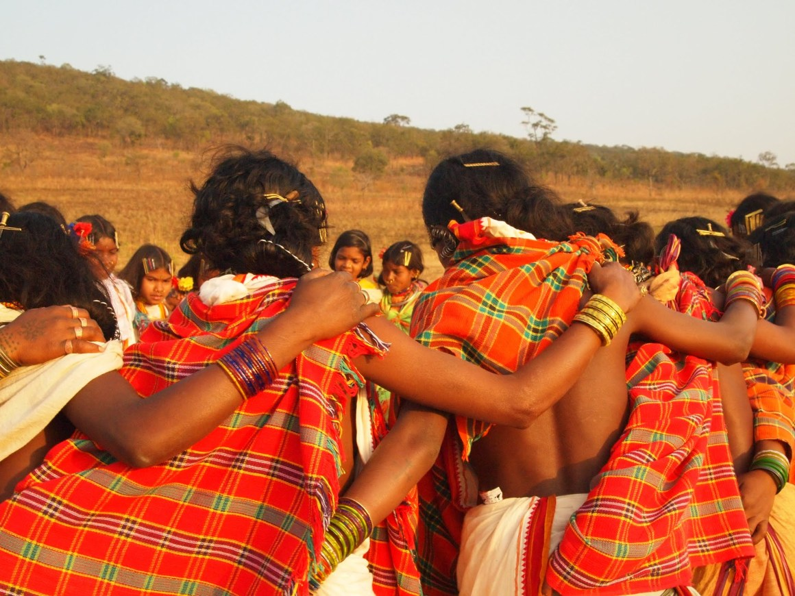 Kalahandi, Odisha, 2011. Dongria Kondh women dance atop Niyam Dongar, at the annual festival to pray tribute to their mountain and gods Dharini Penu and Niyamraja, and to commemorate another year of resistance. While Vedanta's mining plans here were cancelled in 2013, there has been a renewed bid by the Odisha Mining Company to mine in these parts. Credit: Aruna Chandrasekhar