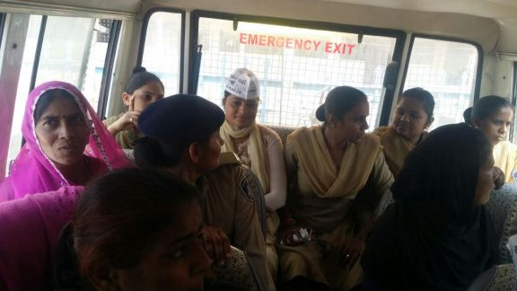 Anganwadi workers and helpers being detained ton Wednesday along with AAP members. Credit: Damayantee Dhar