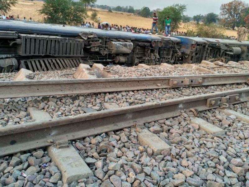 The Mahakaushal Express derailed near Kulpahar, Uttar Pradesh. Credit: ANI