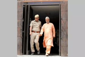 Aseemanand being released from jail. Credit: PTI