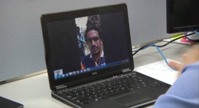 Ata Ullah, who has been identified by analysts and local people as the leader of Rohingya Muslim insurgency Arakan Rohingya Salvation, is seen on a laptop screen during a Skype interview with Reuters in Yangon Myanmar, in this still image taken from video taken March 31, 2017. Credit: Reuters