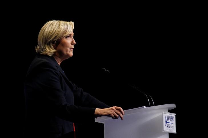 Marine Le Pen, French National Front (FN) political party leader and candidate for French 2017 presidential election, sepaks during a campaign rally in Marseille, France, April 19, 2017. Credit: Reuters/Philippe Laurenson/Files