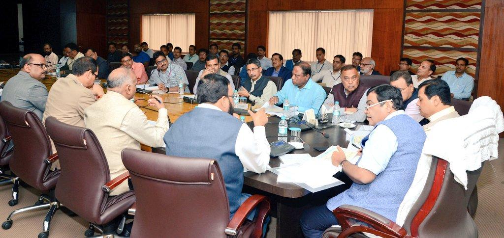 Nitin Gadkari at a meeting in Assam. Credit: Twitter