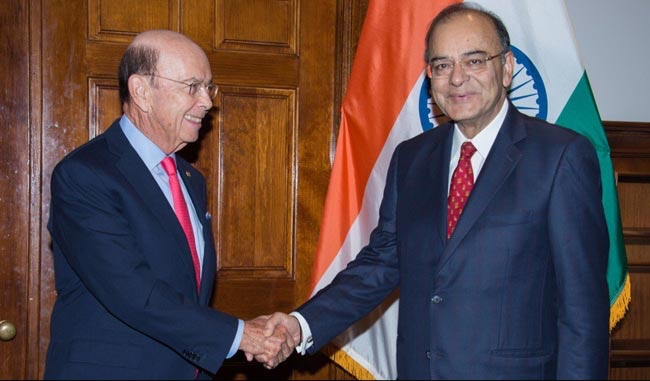 Finance minister Arun Jaitley with US commerce secretary Wilbur Ross. Credit: Twitter